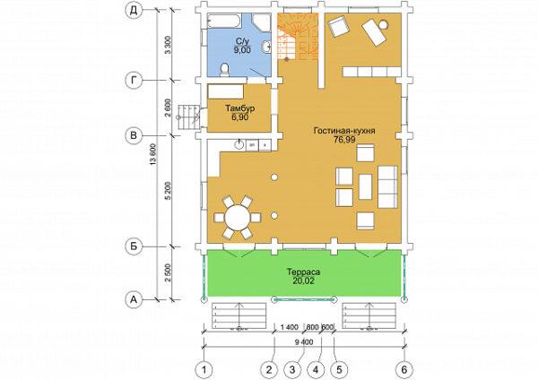 Сруб под дом 13 х 9 > 190м²   DK-14-190