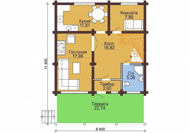 Сруб под дом 10 х 8 > 130 м² | DK-13-130
