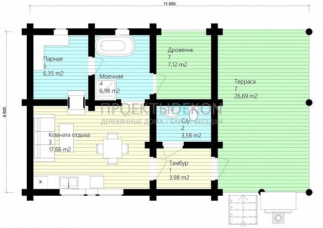 Сруб под баню 12 х 7 > 49 м² | DK-17-49