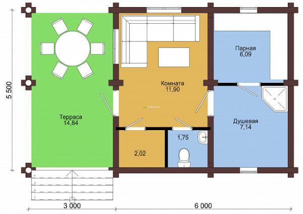 Сруб под баню 5.5 х 8 > 33 м² | DK-33