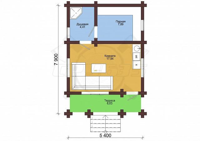 Сруб под баню 5.4 х 8 > 32 м² | DK-32