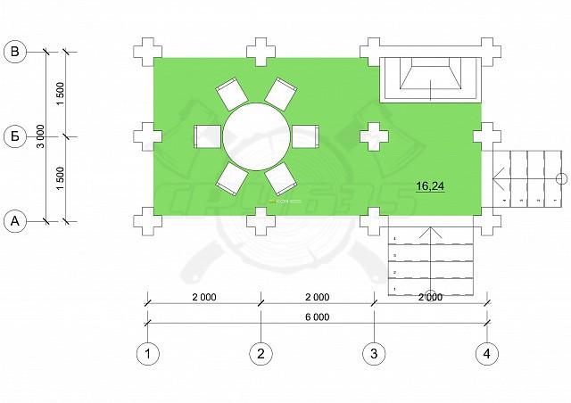 3 x 6 - Беседка 17 м² | DK-B17