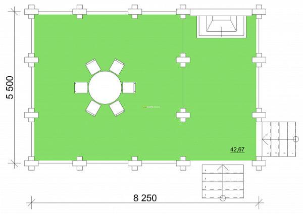 5.5 x 8 - Беседка 42 м² | DK-B42