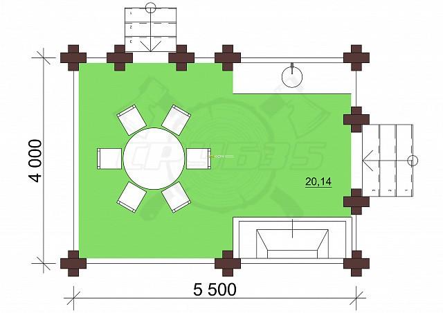 4 x 5.5 - Беседка 21 м² | DK-B21