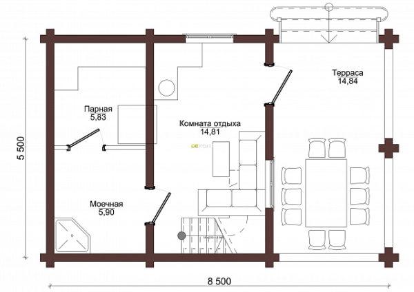 Проект бани 5 х 8 > 63 м² | DK-63